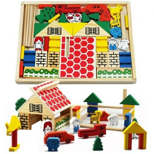 Joc creativ de Constructie din cuburi de lemn