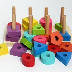 Jucarie sortator din Lemn Montessori cu figuri geometrice