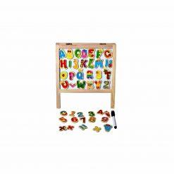 Tabla magnetica educativa cu Abac ,Litere si Cifre din lemn