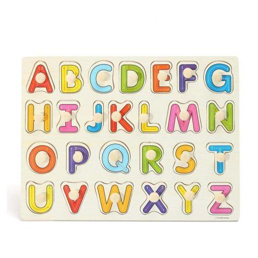 Puzzle litere mari Alfabet din lemn ,cu maner