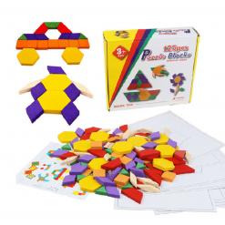 Tangram - Jocuri Geometrice pentru copii 125 piese din lemn
