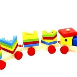 Trenulet colorat din Lemn - Litere si Cifre