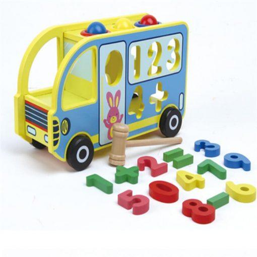 Jucarie educativa Camion din lemn cu cifre