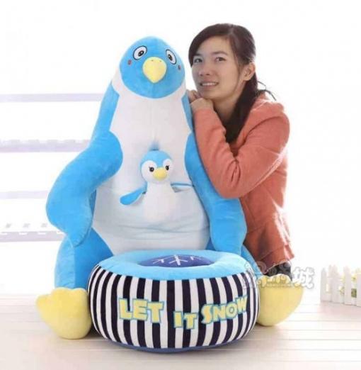 Fotoliu din Plus cu Taburet Detasabil – Pinguin Bleu