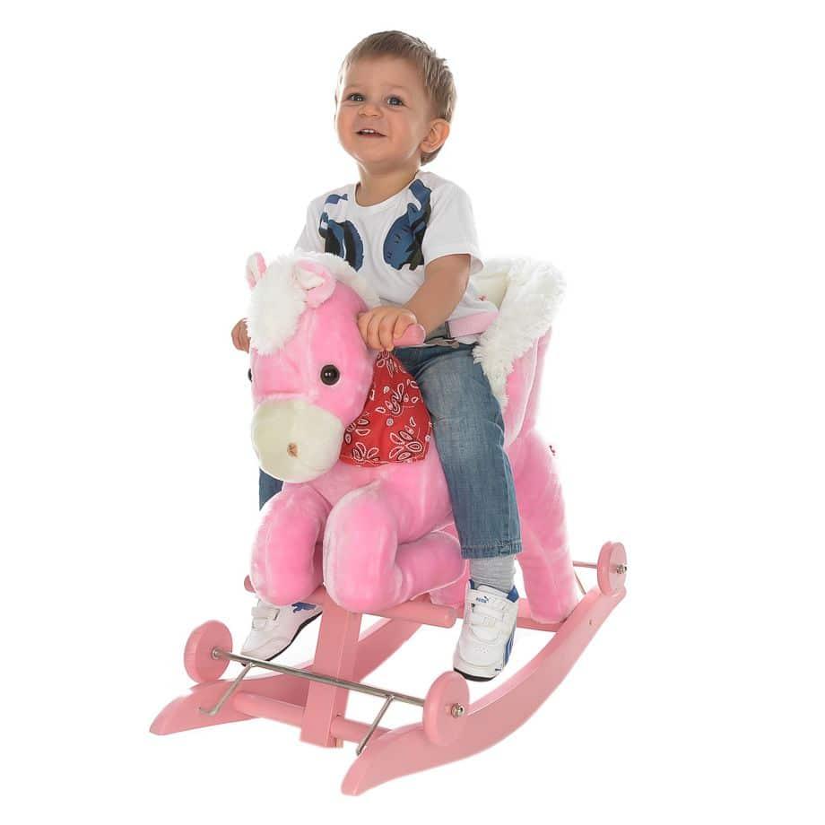 Balansoar Muzical Pentru Copii Calut Roz Alb Toy Story