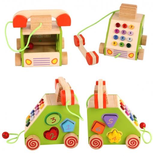 Jucarie interactiva Telefon din lemn pentru copii