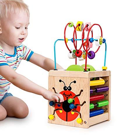 Cub interactiv din lemn cu activitati pentru copii