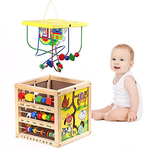 Cub educativ din lemn cu multiple activitati