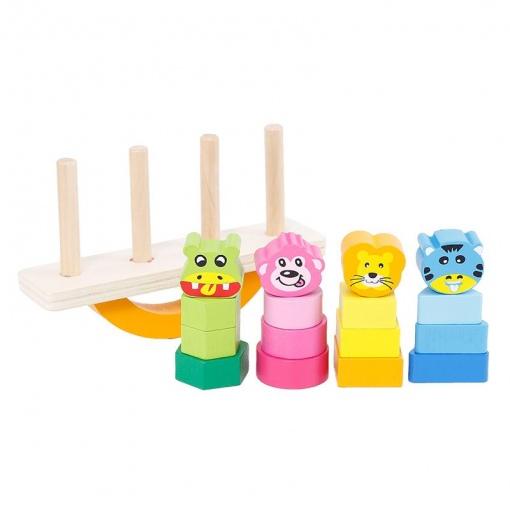 Jucarie lemn Balancing Blocks cu sortator si culori vii