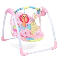 Leagan electric portabil Deluxe pentru copii Roz