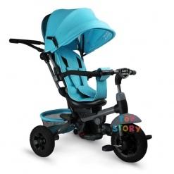 Tricicleta multifunctionala Mamma-Mia Turcoaz cu sezut reversibil si mufa mp3