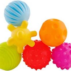 Set 6 bile tactile pentru bebelusi multicolore
