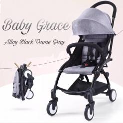 Carucior sport ultracompact Baby Grace Gri cu spatar rabatabil