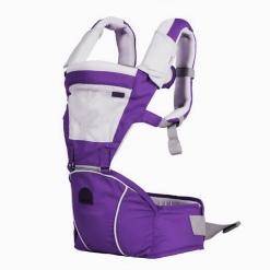 Marsupiu ergonomic 5 Ways cu scaunel detasabil si aerisire Mov inchis