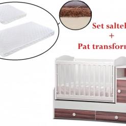PACHET Patut transformabil Maggy + Set saltelute 165/65 cm White/brown