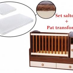 PACHET Patut transformabil Maggy + Set saltelute 165/65 cm Brown/creme