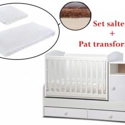PACHET Patut transformabil Maggy + Set saltelute 165/65 cm White