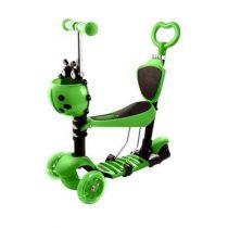 Trotineta 5 in 1 reglabila cu 3 roti si scaunel Buburuza Verde
