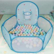 Tarc de joaca Bleu cu 50 bile colorate si mini cos de baschet