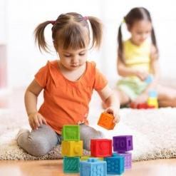 Set 9 cuburi de construit din silicon pentru bebe