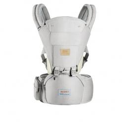 Marsupiu ergonomic cu scaunel All Seasons Baoneo, Gri Jeans