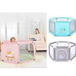 Tarc de joaca bebe cu 50 bile colorate Gri imprimeu Vacuta