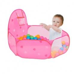 Tarc de joaca Roz cu 50 bile colorate si mini cos de baschet