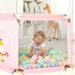 Tarc de joaca bebe cu 50 bile colorate Roz imprimeu Vacuta