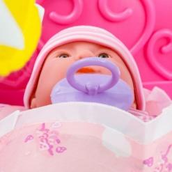 Pătuț balansoar cu păpușă bebeluș și accesorii bebe