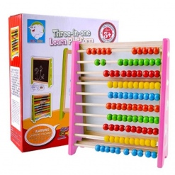 Tabla educativa magnetica 3 in 1cu cifre si abac din lemn