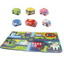 Covoras de joaca colorat cu 6 Masinute incluse