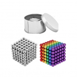 Set Bile Magnetice  Neocube, Multicolore + Argintii, 5 mm, 432 piese