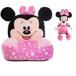 Set fotoliu si Mascota muzicala 25 cm Minnie Mouse – Roz cu buline