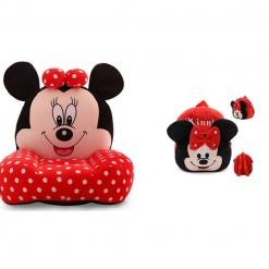 Set fotoliu si ghiozdanel Minnie Mouse – Rosu cu buline