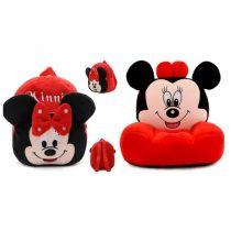 Set fotoliu si ghiozdanel Minnie Mouse - Rosu