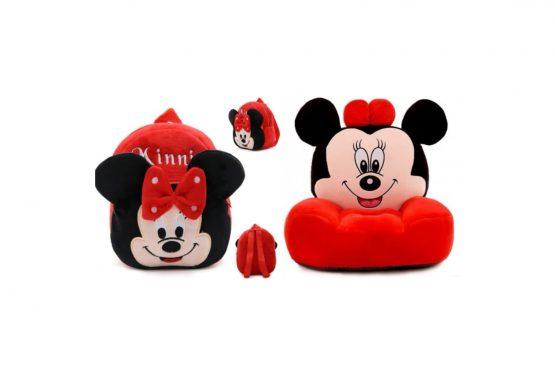 Set fotoliu si ghiozdanel Minnie Mouse – Rosu