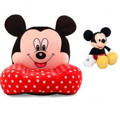 Set Fotoliu si Mascota Muzicala 25 cm MICKEY MOUSE Rosu cu buline