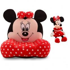 Set fotoliu si Mascota muzicala 25 cm Minnie Mouse – Rosu cu buline