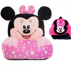 Set fotoliu roz si ghiozdanel Minnie Mouse cu buline