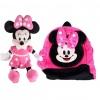 Set Ghiozdanel Minnie Mouse + Mascota Muzicala din Plus 30 cm ROZ